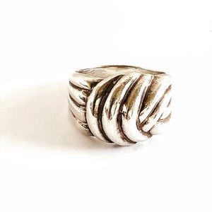 Modernist Artisan 925 Dome Twisted Knot Ring